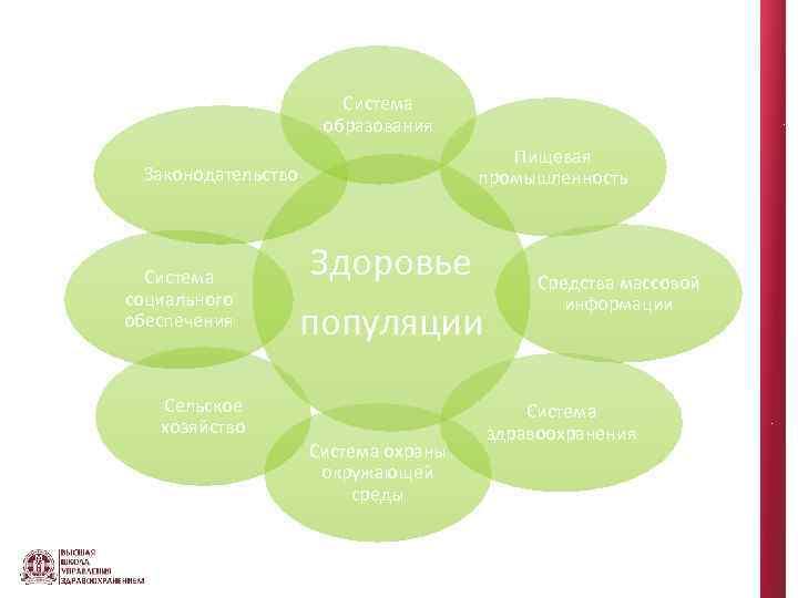 Система образования Пищевая промышленность Законодательство Система социального обеспечения Сельское хозяйство Здоровье популяции Система охраны