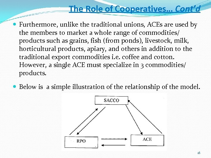 The Role of Cooperatives… Cont'd Furthermore, unlike the traditional unions, ACEs are used by
