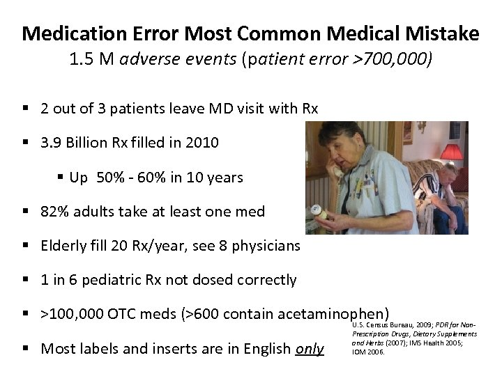 Medication Error Most Common Medical Mistake 1. 5 M adverse events (patient error >700,