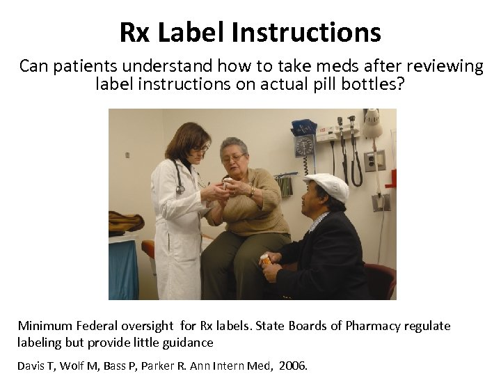 Rx Label Instructions Can patients understand how to take meds after reviewing label instructions