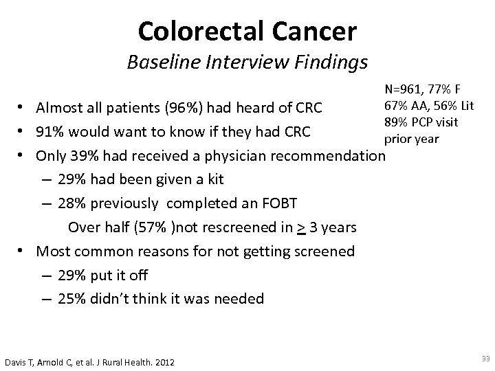 Colorectal Cancer Baseline Interview Findings N=961, 77% F 67% AA, 56% Lit 89% PCP