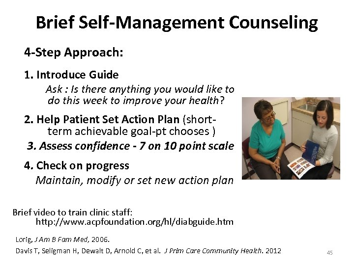 Brief Self-Management Counseling 4 -Step Approach: 1. Introduce Guide Ask : Is there anything