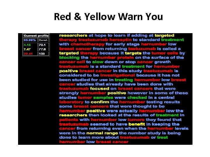 Red & Yellow Warn You