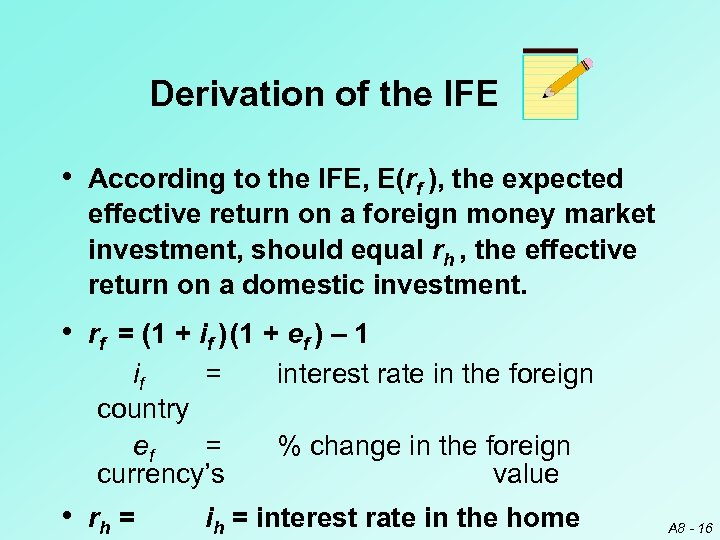 Derivation of the IFE • According to the IFE, E(rf ), the expected effective