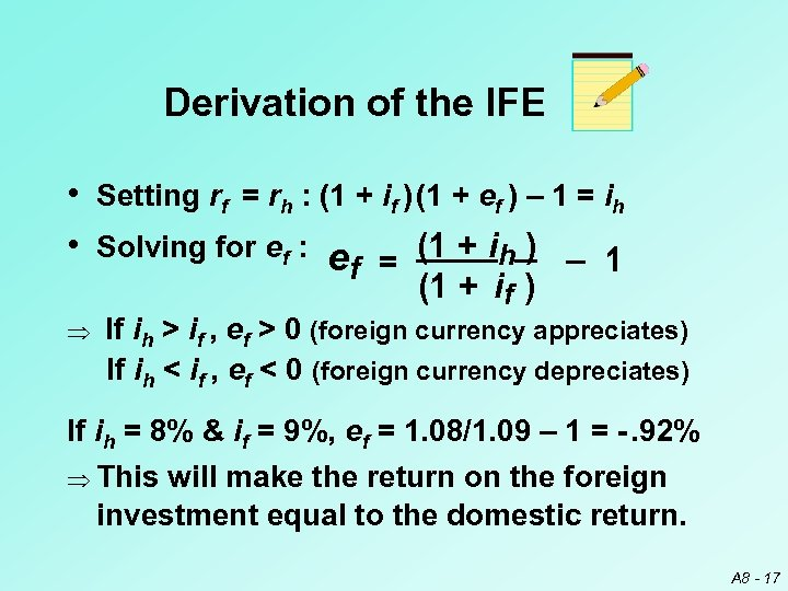Derivation of the IFE • Setting rf = rh : (1 + if )