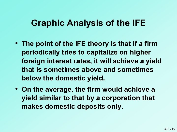 Graphic Analysis of the IFE • The point of the IFE theory is that