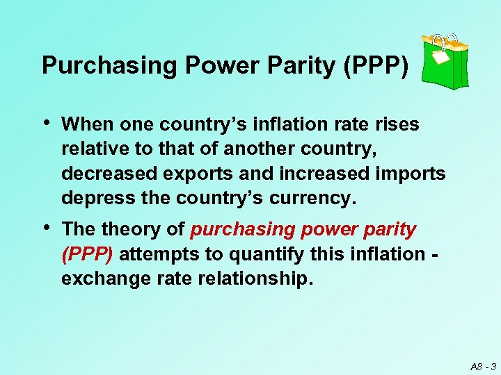 Purchasing Power Parity (PPP) • When one country's inflation rate rises relative to that