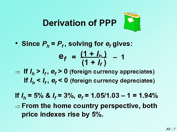 Derivation of PPP • Since Ph = Pf , solving for ef gives: ef