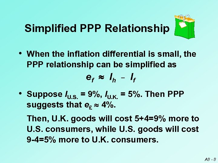 Simplified PPP Relationship • When the inflation differential is small, the PPP relationship can