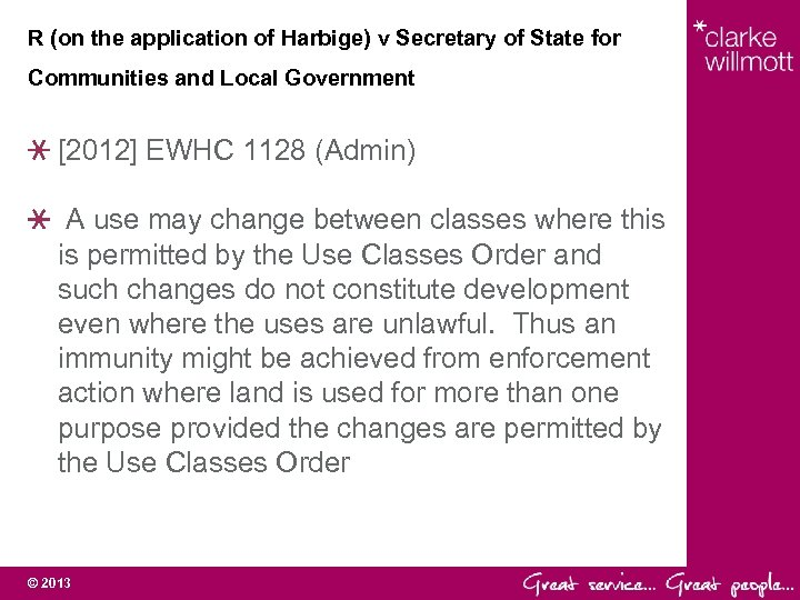 R (on the application of Harbige) v Secretary of State for Communities and Local