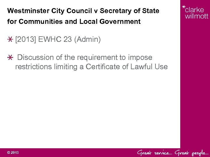 Westminster City Council v Secretary of State for Communities and Local Government [2013] EWHC
