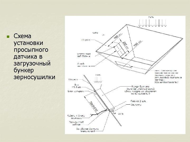 n Схема установки просыпного датчика в загрузочный бункер зерносушилки