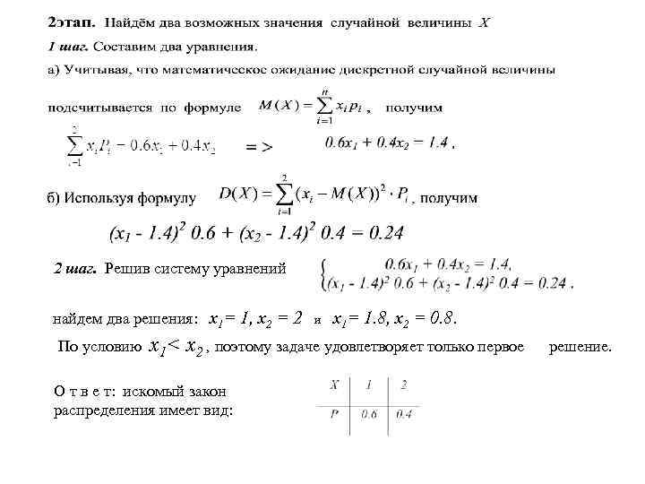 2 шаг. Решив систему уравнений найдем два решения: х1= 1, х2 = 2
