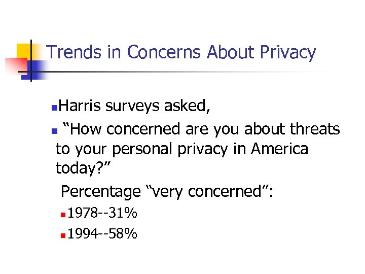 """Trends in Concerns About Privacy Harris surveys asked, n """"How concerned are you about"""