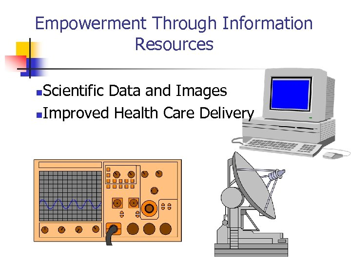 Empowerment Through Information Resources Scientific Data and Images n. Improved Health Care Delivery n