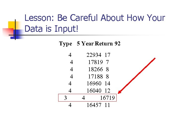 Lesson: Be Careful About How Your Data is Input! Type 5 Year Return 92