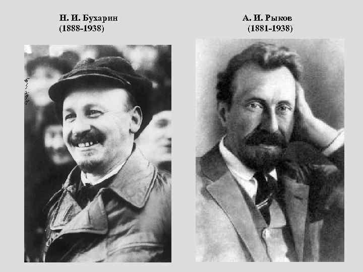 Н. И. Бухарин А. И. Рыков (1888 -1938) (1881 -1938)