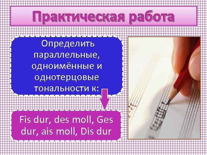 Практическая работа Определить параллельные, одноимённые и однотерцовые тональности к: Fis dur, des moll, Ges