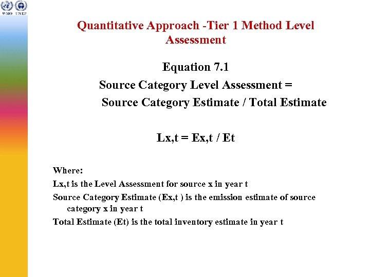 Quantitative Approach -Tier 1 Method Level Assessment Equation 7. 1 Source Category Level Assessment