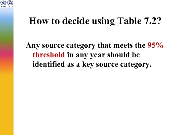 How to decide using Table 7. 2? Any source category that meets the 95%