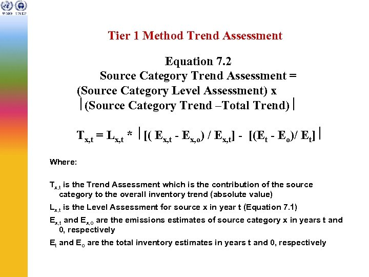 Tier 1 Method Trend Assessment Equation 7. 2 Source Category Trend Assessment = (Source