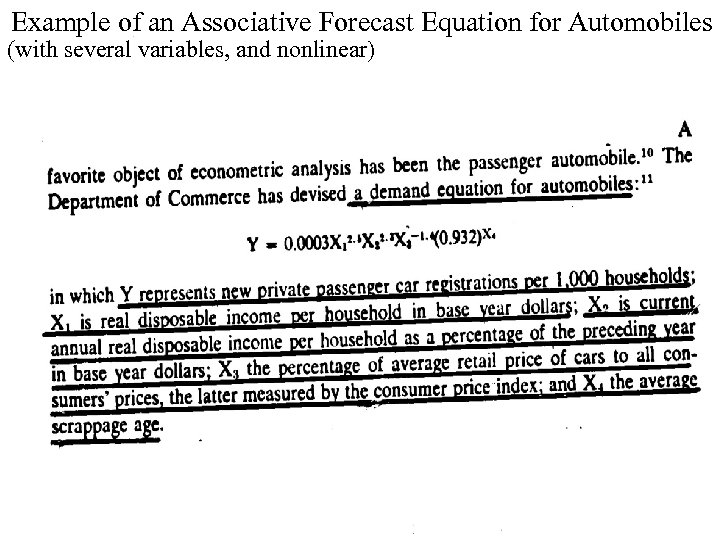 Example of an Associative Forecast Equation for Automobiles (with several variables, and nonlinear) 3