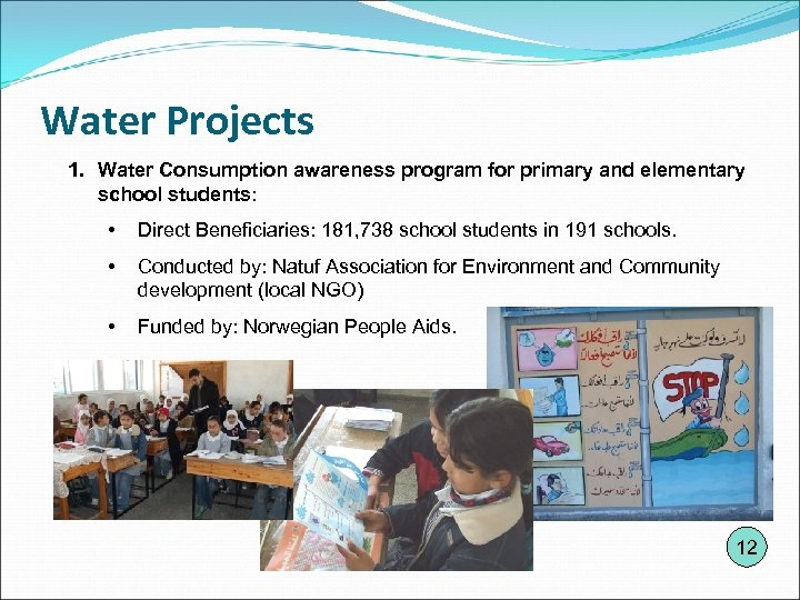 Water Projects 1. Water Consumption awareness program for primary and elementary school students: •