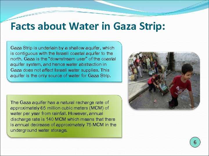 Facts about Water in Gaza Strip: Gaza Strip is underlain by a shallow aquifer,