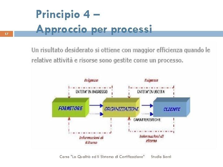 17 Principio 4 – Approccio per processi Corso