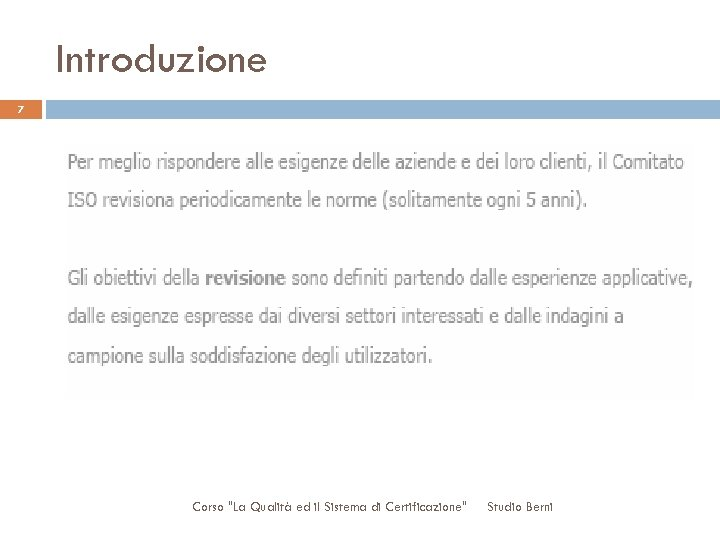 Introduzione 7 Corso