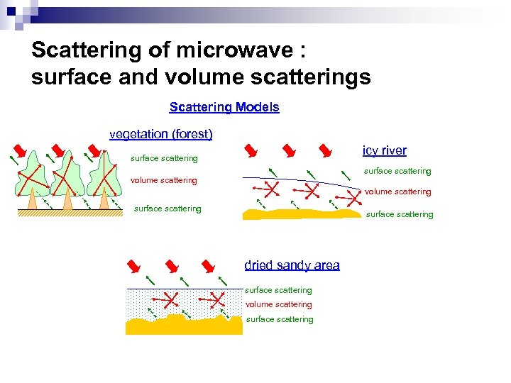 Scattering of microwave : surface and volume scatterings Scattering Models vegetation (forest) icy river