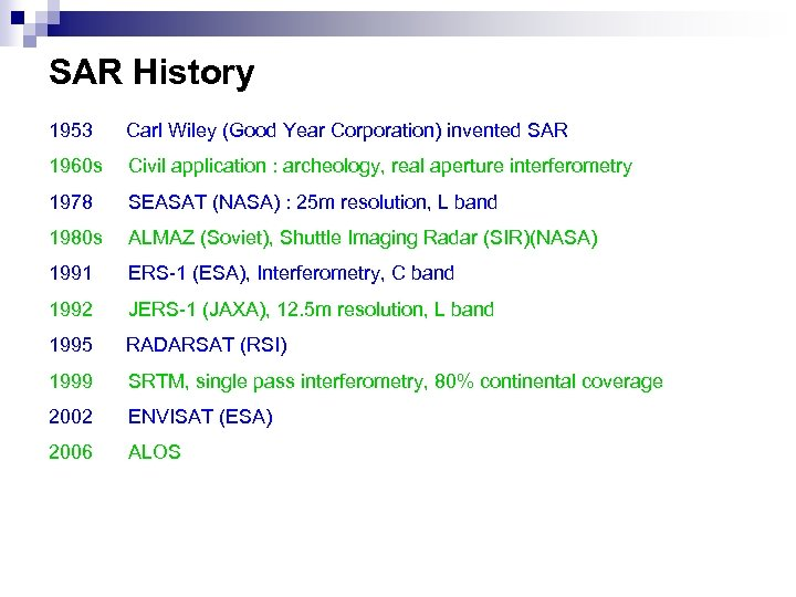 SAR History 1953 Carl Wiley (Good Year Corporation) invented SAR 1960 s Civil application