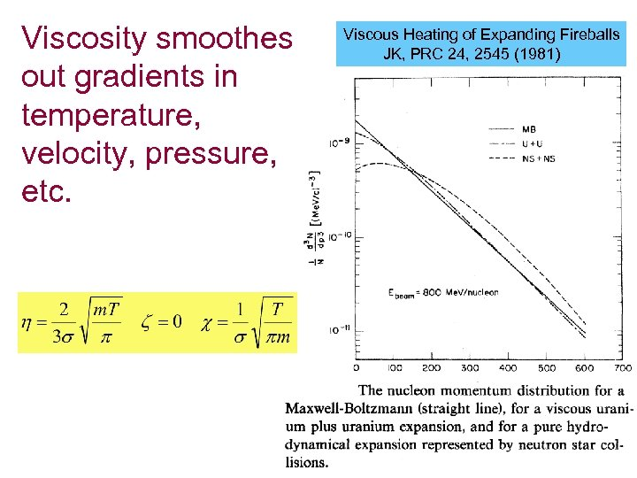Viscosity smoothes out gradients in temperature, velocity, pressure, etc. Viscous Heating of Expanding Fireballs