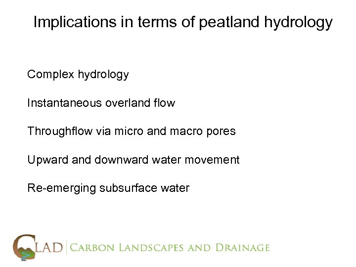 Implications in terms of peatland hydrology Complex hydrology Instantaneous overland flow Throughflow via micro