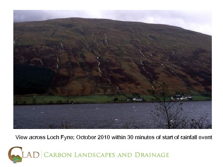 View across Loch Fyne; October 2010 within 30 minutes of start of rainfall event