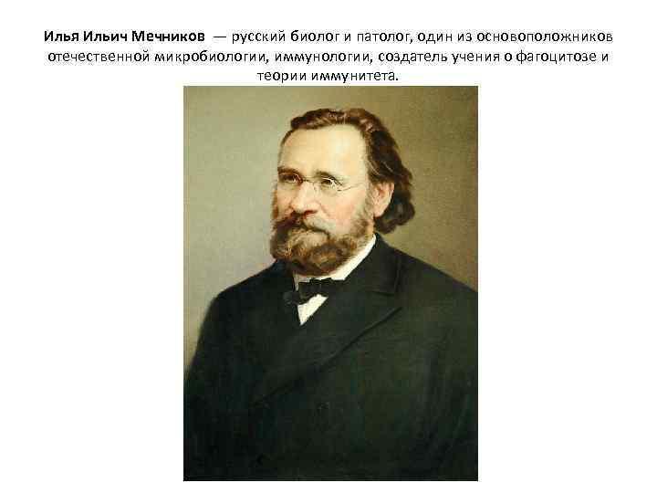 Илья Ильич Мечников — русский биолог и патолог, один из основоположников отечественной микробиологии, иммунологии,