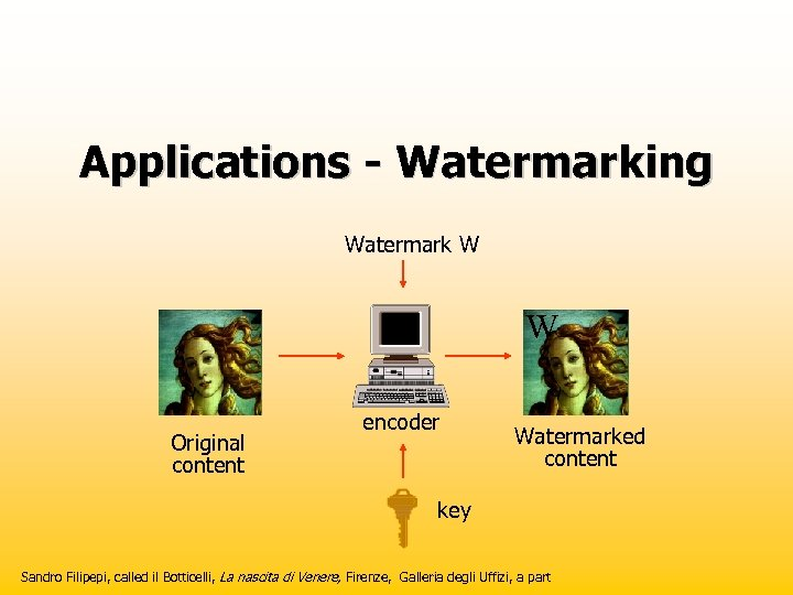 Applications - Watermarking Watermark W W Original content encoder Watermarked content key Sandro Filipepi,