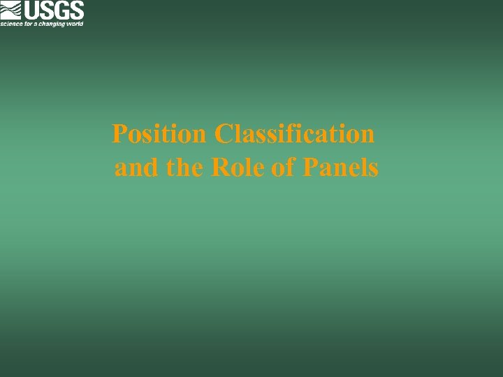Position Classification and the Role of Panels