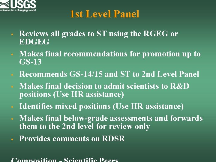 1 st Level Panel • • Reviews all grades to ST using the RGEG