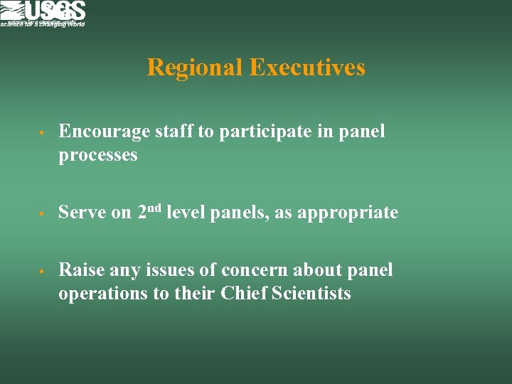 Regional Executives • Encourage staff to participate in panel processes • Serve on 2