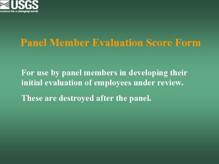 Panel Member Evaluation Score Form For use by panel members in developing their initial