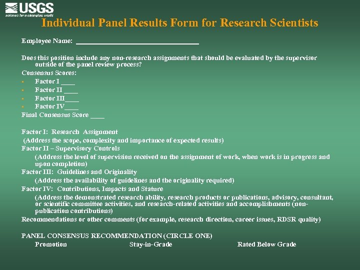 Individual Panel Results Form for Research Scientists Employee Name: __________________ Does this position include