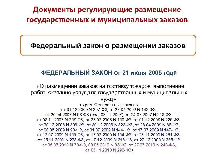 Документы регулирующие размещение государственных и муниципальных заказов Федеральный закон о размещении заказов ФЕДЕРАЛЬНЫЙ ЗАКОН