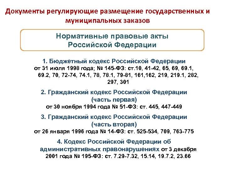 Документы регулирующие размещение государственных и муниципальных заказов Нормативные правовые акты Российской Федерации 1. Бюджетный