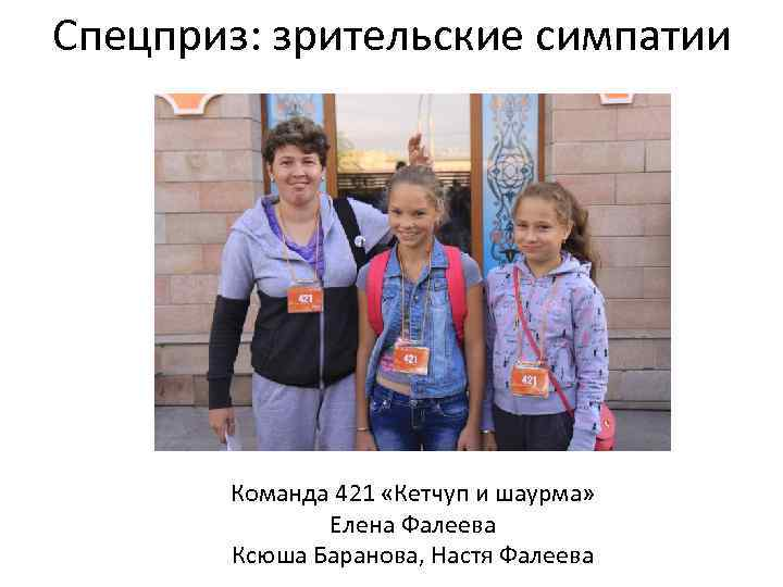 Спецприз: зрительские симпатии Команда 421 «Кетчуп и шаурма» Елена Фалеева Ксюша Баранова, Настя Фалеева