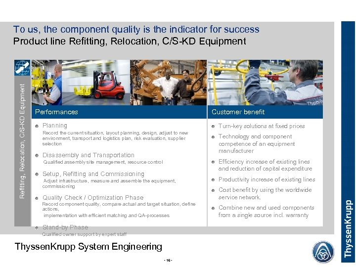 Performances Customer benefit Planning Turn-key solutions at fixed prices Record the current situation, layout