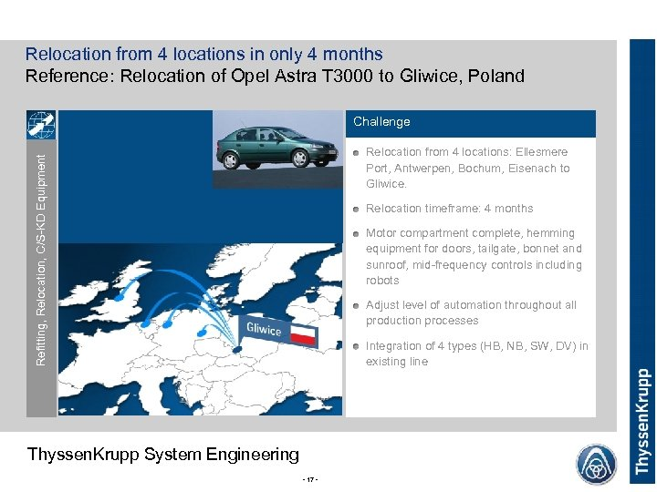 Relocation from 4 locations in only 4 months Reference: Relocation of Opel Astra T