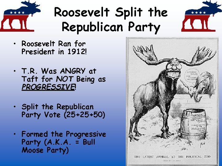Roosevelt Split the Republican Party • Roosevelt Ran for President in 1912! • T.