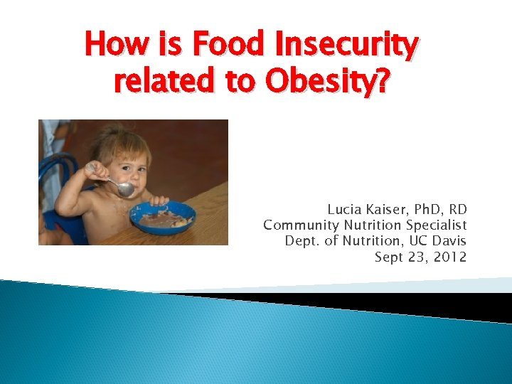 How is Food Insecurity related to Obesity? Lucia Kaiser, Ph. D, RD Community Nutrition