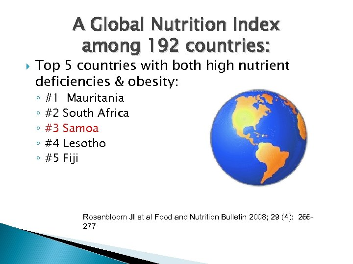A Global Nutrition Index among 192 countries: Top 5 countries with both high nutrient